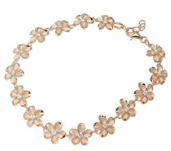 "Arthur's Jewelry 925 Sterling Silver Rose Gold Plated Hawaiian 10MM Cz Plumeria Flower Anklet 9.5""+"