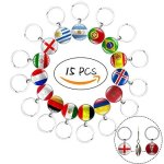 ApolDirect 15 Pcs Two-sided Metal National Flag Football Pattern Keychain Key Rings For Soccer Match 2018 Fifa World Cup Footbal