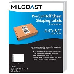 """Milcoast Pre-cut 5.5"""" X 8.5"""" Half Sheet Adhesive Shipping Labels Easy To Peel For Laser Or Inkjet Printers 200 Labels"""