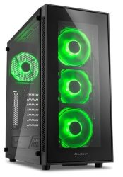 Sharkoon TG5 Window Atx Tower PC Gaming Case Green With Side Window