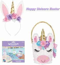 Unicorn Easter Basket Bundled With Cute Unicorn Bunny Ears Headband And Unicorn Easter Egg Decoration Kit