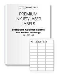 "25 Sheets 750 Labels Blackout Technology 30-UP Address Labels 1"" X 2-5 8"" - Bpa Free"