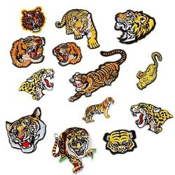 Zhiheng 13PCS Assorted Lion Tiger Leopard Wolf Deer Eagle Embroidered Safri Animal Patches Sew Iron On Applique Badge Tiger
