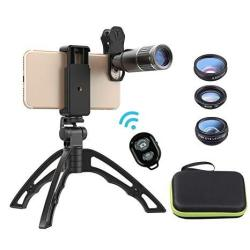 Miao Lab Cell Phone Lens Kit With Phone Tripod+shutter 4 In 1 Phone Lens-meter 16X Telephoto Lens wide Angle macro fisheye Lens