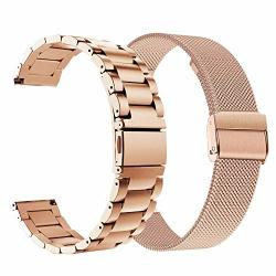 Compatible For Garmin Vivoactive 4S 40MM Bands Vicrior Solid Stainless Steel Watchband+ Mesh Strap Bracelet Replacement Band Strap For Garmin Vivomove 3S Rose Gold