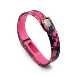 Tuff-Luv Small Adjustable Wristband & Clasp for Fitbit Flex Activity Tracker with Secret Garden Design in Pink