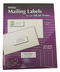 "White Mailing Labels For An Ink Jet Printer- 1"" X 2 5 8"" - 30 Labels Per Sheet 15 Sheets"