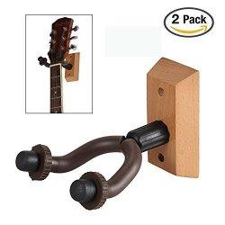 Kuyou Guitar Wall Hooks Set Of 2 Wooden Guitar Hangers Keep Hook Holder Wall Mount Fits All Size Guitars.