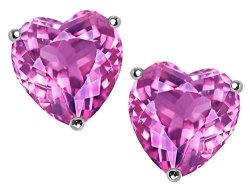 Star K 7MM Heart Created Pink Sapphire Earrings Studs Sterling Silver