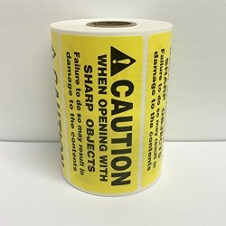 500 Labels 4X2 Yellow Caution When Opening With Sharp Objects Special Handling Shipping Warehouse Pallet Stickers