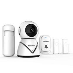 ELinkSmart Wifi Camera Kit Home Security Pan Tilt Camera System With 2 Pack Door window Sensors And Pir Detector Wireless Doorbe