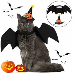 Fansport Halloween Pet Bat Wings Costume Cat Bat Wings Costume Pet Cosplay Bat Costume With Pet Party Hat For Halloween Party