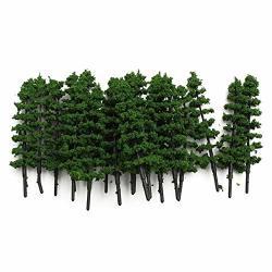 Figurines Miniatures - Modern 20PCS Green Fir Trees Model Train Railway Est Layout Sand Table Garden Micro Landscape Decor - Model Tree 87 Sand