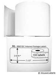 "HouseLabels 6 Rolls 150 Labels Per Roll Of Dymo-compatible 99019 1-PART Internet Postage Labels 2-5 16"" X 7-1 2"" -- Bpa Free"