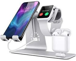 In BESTAND3 1 Apple Iwatch Stand Airpods Charger Dock Phone Desktop Tablet Holder For Airpods Apple Watch iphone X 8 PLUS 8 7 Plus ipad Silver Patentg Airpods Chargg Case
