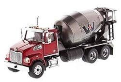 Diecast Masters Western Star 4700 Sf Concrete Mixer Metallic Red With Gray Body 1 50 Diecast Model