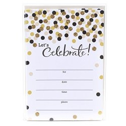 Hallmark Party Invitations Let's Celebrate With Gold And Black Dots Pack Of 20