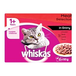 Whiskas - Cat Food Meat In Gravy Multipack 12 X 85G