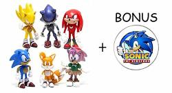 China Sonic The Hedgehog Action Figures 6-PACK Collectible Figures With Sonic Brooch Highly Detailed Design For Kids And Collectors Includes Sonic Tails Knuckles Metal Sonic