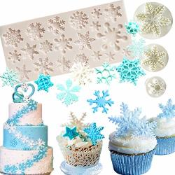 SET OF 4 Jevenis Snowflake Fondant Mold 3D Christmas Cake Decorations Winter Cupcake Topper For Chocolate Candy Soap Cake Baking