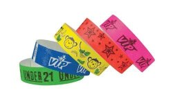 PDC 3 4 Inch Tyvek Wristbands - Vip Stars Design - Id Access Verification- Night Events Access Control - Black On Day Glow Pink Color
