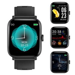 Rundoing Full Touch Screen Smart Watch For Android Ios Phones Fitness Tracker With Sleep heart Rate Monitor Step calorie Counter 1.54 Inch Screen IP68