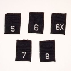 ShuShuStyle Black Mixed Child Woven Size Labels 5 6 6X 7 & 8 Package Of 100