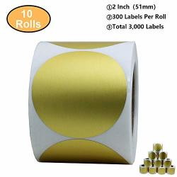 """Aleplay Gold Labels 2"""" Round Color Coding Dots Stickers Adhesive Label 300 Per Roll GOLD-2 Inch 10 Rolls"""