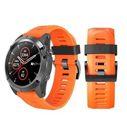 Insaneness Soft Silicone Replacement Sport Wirst Watchband Strap For Garmin Fenix 5X Plus Orange