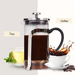Ling-eu French Press Coffee Maker 1L 34OZ Stainless Steel Frame & Heat Resistant Glass