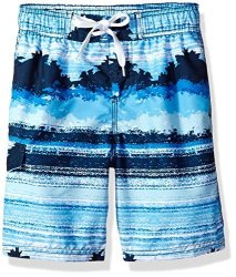 Kanu Surf Big Boys' Banzai Stripe Quick Dry Beach Board Shorts Swim Trunk Navy Medium 10 12