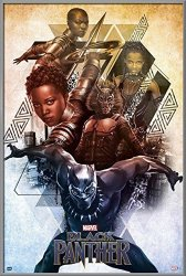 """POSTER STOP ONLINE Black Panther - Framed Marvel Movie Poster Print Character Collage Size: 24"""" X 36"""" By"""