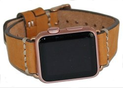 IGear 38MM Apple Watch Strap Blonde cream Leather & Rose Gold Buckle