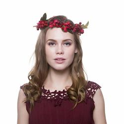 Aoask Handmade Pink Feather Boho Flower Crown Bridal Hair Wreath With Adjustable Ribbon For Women Girls Wedding Party Decoration Red Breey