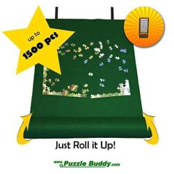 Puzzle Buddy: Jigsaw Puzzle Roll Up Felt Mat Securely Store Transport Unfinished Puzzles Includes Box Stand Perfect For Grandpar