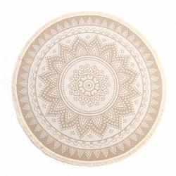 Leevan Round Area Rug Hand Woven Cream Chic Bohemian Mandala Print Tassels Door Mat Indoor Floor Area Mats Compatible Bedroom Li