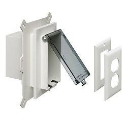Arlington Industries Arlington DBVS1C-1 Low Profile In Box Recessed Outlet Box Wall Plate Kit For New Vinyl Siding Construction Vertical 1-GANG Clear