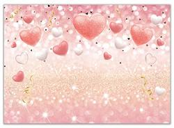 Allenjoy Valentine's Day Backdrop Pink Gold Heart Balloons Photography Background For Bridal Shower Wedding Baby Girl Birthday P
