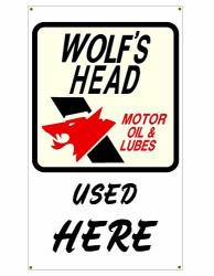 Signs By Woody Wolf's Head Motor Oil And Lubes Garage Banner Man Cave Banner Hot Rat Rod Nhra