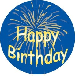 Ace Label Adhesive Label 12189C 'happy Birthday Fireworks' Teacher School Stickers 2-1 2-INCH Blue yellow Roll Of 100