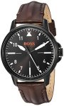 Boss Orange Men's Chicago Stainless Steel Quartz Watch With Leather Calfskin Strap Brown 18 Model: 1550062