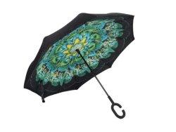Reversible Umbrella With Design - Peacock