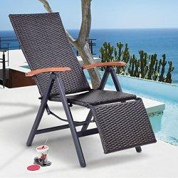 2712f32498 Tangkula Adjustable Chaise Lounge Chair Folding Reclining Beach Yard Pool  Rattan Chair   R2830.00   Garden Accessories   PriceCheck SA