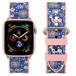 Falandi Compatible Apple Watch Bands 40MM Series 4 Sports Pattern Leather Rose Gold Pink Silicone Replacement Straps Sweatproof