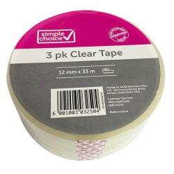 SIMPLE CHOICE - 48MMX50M Clear Tape 3PK