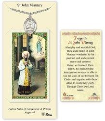 Pewter Saint John Vianney Medal With Laminated Holy Prayer Card