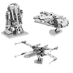Metal Earth 3d Model Kits Star Wars Set Of 3 Millennium Falcon - R2-d2 - X-wing Starfighter