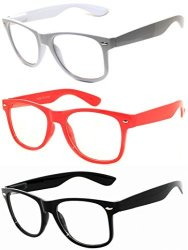 OWL - 80S Style Glasses For Women And Men - Clear Lens - White + Red + Black 3 Pack