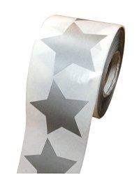 "Wootile Silver Writable Paper Star Shape Stickers - 2"" Inch - 500 Per Roll - Shiny Metallic Foil - Teacher Supplies"