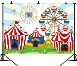 DePhoto Ltd Dephoto 9X6FT 270X180CM Cartoon Fun Circus Carnival Party Seamless Vinyl Photography Backdrop Photo Background Studi